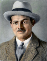 0042350 © Granger - Historical Picture ArchiveERNEST HEMINGWAY   (1898-1961). American writer. Oil over a photograph, 1933.
