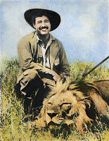 0043712 © Granger - Historical Picture ArchiveERNEST HEMINGWAY   (1899-1961). Hunting in Kenya. Oil over a photograph, February 1934.