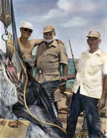0061651 © Granger - Historical Picture ArchiveERNEST HEMINGWAY   (center) with Cuban sportsman Elicio Arguelles, Jr. and fishing-boat captain Gregorio Fuentes in Cuba during the filming of