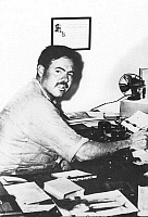 0063607 © Granger - Historical Picture ArchiveERNEST HEMINGWAY   (1899-1961). American writer. At the typewriter in 1929 in Key West, Florida.