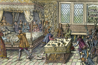 0040441 © Granger - Historical Picture ArchiveKING HENRI II OF FRANCE.   King Henri II mortally wounded in a joust, attended by Ambroise Paré and Andreas Vesalius (at end of table), 1559. Woodcut, French, c1570.