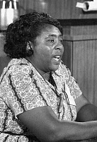 0046998 © Granger - Historical Picture ArchiveFANNIE LOU HAMER (1917-1977).   American civil rights activist. Speaking as a member of the Mississippi Freedom Democratic Party, at the Democratic National Convention in Atlantic City, New Jersey, August 1964.