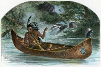 0009192 © Granger - Historical Picture ArchiveHIAWATHA FISHING FOR NAHMA.   Hiawatha fishing for the sturgeon, Nahma: colored engraving from a 19th century edition of H.W. Longfellows's 'The Song of Hiawatha,' illustrated by Felix O.C. Darley.