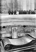 0013770 © Granger - Historical Picture ArchiveHILTER AT NAPOLEON'S TOMB.   German Chancellor Adolf Hitler (in white suit) and his entourage visiting the tomb of Napoleon at the Les Invalides, Paris, France, on 23 June 1940 following the surrender of France.