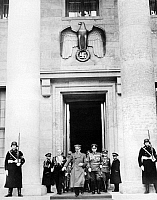 0016651 © Granger - Historical Picture ArchiveADOLF HITLER (1889-1945).   Chancellor of Germany, 1933-45. Hitler leaving the Chancellery building during World War II.