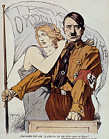 0022351 © Granger - Historical Picture ArchiveADOLF HITLER (1889-1945).   Chancellor of Germany, 1933-1945. Pictured as the savior of Germany. Illustration, 1934, from a German magazine.