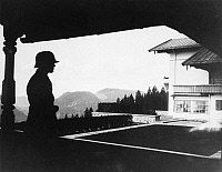 0058294 © Granger - Historical Picture ArchiveGERMANY: BERGHOF, 1938.   A sentry guarding the Berghof, German Chancellor Adolf Hitler's mountain retreat high in the Obersalzberg overlooking Berchtesgaden, Germany, 1938.