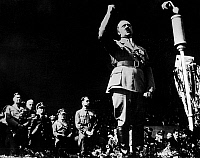0111457 © Granger - Historical Picture ArchiveADOLF HITLER (1889-1945).   Chancellor of Germany, 1933-1945. Hitler giving a speech at a rally.