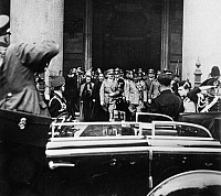 0173516 © Granger - Historical Picture ArchiveHITLER IN ROME, 1938.   German Chancellor Adolf Hitler and Italian Prime Minister Benito Mussolini visiting the Pantheon in Rome, 1938. Photograph by Heinrich Hoffmann.