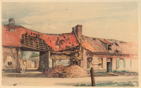 0408220 © Granger - Historical Picture ArchiveHITLER: PAINTING, 1915.   'Fromelles first aid station.' Watercolor by Adolf Hitler, 1915. Full credit: Schöning - ullstein bild / Granger, NYC -- All rights reserved.