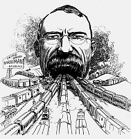 0108218 © Granger - Historical Picture ArchiveEDWARD HENRY HARRIMAN   (1848-1909). American railroad magnate. Harriman caricatured as a new Union Station in Washington, D.C., swallowing up railroads from around the country. Drawing, 1907, by Luther Daniels Bradley.