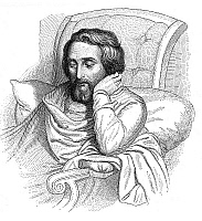 0042499 © Granger - Historical Picture ArchiveHEINRICH HEINE (1797-1856).   German poet and critic. On his sick-bed. Line engraving after a drawing, 1852, by Charles Gabriel Gleyre.