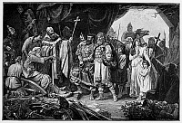 0068813 © Granger - Historical Picture ArchiveHENRY I (876-936).   Called Henry the Fowler. First Saxon king of Germany, 919-936. Defeated Wend leaders brought before Henry (seated at left) to be given the choice of Christianity or death. Wood engraving, 19th century.