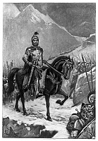 0042799 © Granger - Historical Picture ArchiveHANNIBAL (247-183 B.C.).   Carthaginian general. Hannibal and his army crossing the Alps into Italy, 218 B.C. Gravure after a painting, 1894, by J.L.G. Ferris (1863-1930).