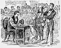 0049160 © Granger - Historical Picture ArchiveELIAS HOWE (1819-1867).   American inventor. Howe competing and winning against five seamstresses at Boston, Massachusetts, in 1845. Wood engraving, c1867.