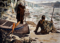 0022563 © Granger - Historical Picture ArchiveFATHER LOUIS HENNEPIN   (1640-1701?). French missionary and explorer in North America. At the Falls of St Anthony, 1680, along the Mississippi. Lithograph, 1905.
