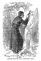 0028918 © Granger - Historical Picture ArchiveLOUIS HENNEPIN (1640-1701).   French missionary and explorer in America. Father Hennepin at St. Anthony's Falls in the upper Mississippi region, 1680. Wood engraving after Felix O.C. Darley, 19th century.