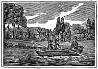 0028919 © Granger - Historical Picture ArchiveLOUIS HENNEPIN (1640-1701).   French missionary and explorer in America. Father Hennepin and his party exploring the upper Mississippi region as Native Americans watch from the shore, 1680. Woodcut, German, early 19th century.