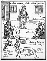 0069021 © Granger - Historical Picture ArchiveMATTHEW HOPKINS (d. 1647).   English 'witch-finder.' Hopkins with two witches and their familiar spirits. Line engraving, English, 1792, after an engraving of 1647.