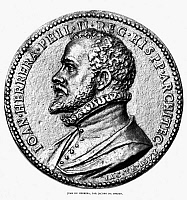 0068859 © Granger - Historical Picture ArchiveJUAN de HERRERA (1530-1597).   Spanish architect. Portrait medal, 1570s, by Jacopo da Trezzo.