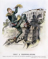 0065032 © Granger - Historical Picture ArchiveWLLIAM RANDOLPH HEARST.   Only a Stepping Stone: American cartoon, 1906, commenting on the political ambition of Hearst, who, dresssed as the Scarecrow from the Wizard of Oz, is trying to reach the White House by way of the governorship of New York.