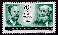 0022126 © Granger - Historical Picture ArchiveHEINRICH HERTZ (1857-1894).   German physicist. With Scottish physicist James Clerk Maxwell (right) on a Mexican airmail stamp, 1967.
