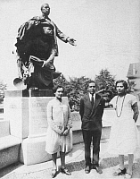0013136 © Granger - Historical Picture ArchiveHURSTON & HUGHES.   Zora Neale Hurston (1903-1960), American writer and anthropologist, at far right, with Jessie Fauset and Langston Hughes at Tuskegee, Alabama, posing beside a statue of Booker T. Washington in 1927.