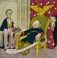 0103863 © Granger - Historical Picture ArchiveVICTORIANO HUERTA   (1854-1916). 'Now or Never.' Cartoon depicting Mexican dictator Victoriano Huarez asleep in the presidential chair as U.S. president Woodrow Wilson looks on disapprovingly, and his Foreign Minister, Federico Gamboa, waits behind the curtain. Cartoon from a Mexican magazine, 9 September 1913.