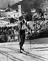 0171890 © Granger - Historical Picture ArchiveBILL KOCH (1955- ).   American cross-country skier. Crossing the finish line to win the silver medal in the men's 30 kilomter cross-country race at the Winter Olympic Games in Seefeld, near Innsbruck, Austria, 5 February 1976.