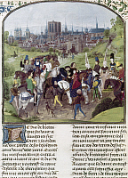 0126825 © Granger - Historical Picture ArchiveLOUIS II, DUKE OF ANJOU   (1377-1417). King of Naples, 1389-1399. Louis II arriving in Paris. Illumination from the 'Chroniques de Froissart,' c1400.