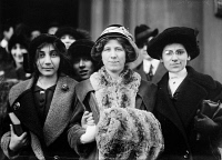 0326534 © Granger - Historical Picture ArchiveFOLA LA FOLLETTE (1882-1970).   American actress, suffragist, and labor leader. With a teenage striker and Rose Livingston during a garment strike in New York City. Photograph, c1913.