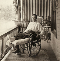 0527808 © Granger - Historical Picture ArchiveNAP LAJOIE (1874-1959).   Napoleon Lajoie, also know as Larry. American baseball player. On his front porch with a broken leg. Photograph by Louis Van Oeyen, c1905.