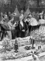0067602 © Granger - Historical Picture ArchiveLOUBET IN LONDON, 1903.   French President Emile Loubet receives a toast offered by the Lord Mayor of London, right, at a banquet during his visit to London, 7 July 1903; the Prince of Wales and future King George V raises his glass at left: illustration from a contemporary English newspaper.