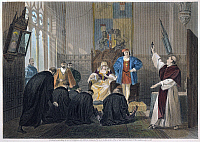 0011138 © Granger - Historical Picture ArchiveFERDINAND AND ISABELLA.   A deputation of Spanish Jews before Queen Isabella and King Ferdinand prior to the expulsion of Jews from Spain in 1492. Steel engraving, American, 1869.
