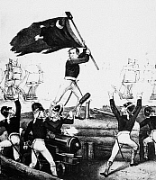 0069098 © Granger - Historical Picture ArchiveWILLIAM JASPER.   American Revolutionary War hero. Sergeant Jasper replacing South Carolina's banner during the victory over the British at Fort Moultrie, South Caronlina, 1776. Lithograph, 19th century.