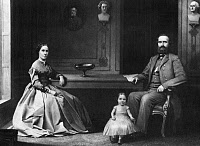 0266734 © Granger - Historical Picture ArchiveSTONEWALL JACKSON   (1824-1863). Thomas Jonathan 'Stonewall' Jackson. American Confederate general. With his wife Mary Anna and daughter Julia. Mezzotint engraving by William Sartain, 1866.