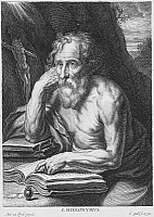 0064802 © Granger - Historical Picture ArchiveSAINT JEROME (340?-420).   Etching by Cornelius Galle (1576-1656) after Van Dyck.