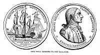 0067206 © Granger - Historical Picture ArchiveJOHN PAUL JONES (1747-1792).   American (Scottish-born) naval commander. Engraving of a medal commemorating the defeat of HMS 'Serapis' by the 'Bonhomme Richard' on 23 September 1779, awarded to Jones by Congress in 1787.