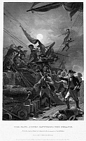 0086795 © Granger - Historical Picture ArchiveJOHN PAUL JONES (1747-1792).   American (Scottish-born) naval officer. Jones capturing the HMS Serapis, 23 September 1779. Steel engraving, American, 1858, after a painting by Alonzo Chappel.