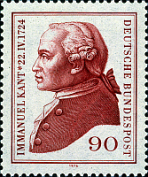 0022118 © Granger - Historical Picture ArchiveIMMANUEL KANT (1724-1804).   German philosopher. On a West German postage stamp, 1974.