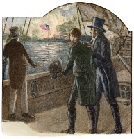 0065879 © Granger - Historical Picture ArchiveFRANCIS SCOTT KEY, 1814.   Key (1779-1843) detained on a British ship in Baltimore Harbor, September 1814, watches the bombardment of Fort McHenry and the flag that inspired him to write 'The Star Spangled Banner.' Wood engraving, American, 1885.