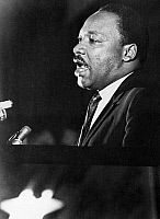 0169634 © Granger - Historical Picture ArchiveMARTIN LUTHER KING, JR.   (1929-1968). American clergyman and civil rights leader. Giving his 'mountaintop' speech at the Mason Temple in Memphis, Tennessee, the night before his assassination. Photograph, 3 April 1968.