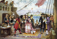 0076589 © Granger - Historical Picture ArchiveWILLIAM KIDD (1645?-1701).   Also known as Captain Kidd. Scottish privateer and pirate. Captain Kidd welcomes visitors on board his ship in New York harbor. After a painting by Jean Leon Gerome Ferris.