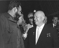 0013045 © Granger - Historical Picture ArchiveCASTRO & KHRUSHCHEV, 1960.  Premier Fidel Castro of Cuba and Soviet Premier Nikita Khrushchev greeting each other in the General Assembly of the United Nations, New York. Photograph, 20 September 1960.