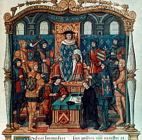 0021385 © Granger - Historical Picture ArchiveKING LOUIS XI OF FRANCE.   (1423-1483). King of France, 1461-83, and his court. French manuscript illumination, 15th century.
