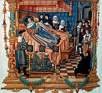 0034872 © Granger - Historical Picture ArchiveKING LOUIS XI OF FRANCE.   (1423-1483). King of France, 1461-83. The death of Louis XI at his castle, Plessis-les-Tours, 1483. French manuscript illumination, 15th century.