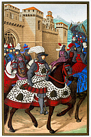 0087884 © Granger - Historical Picture ArchiveLOUIS XII (1462-1515).   King of France, 1498-1515. Louis XII leaving Alexandria, 24 April 1507, to suppress a revolt in the city of Genoa, Italy. Lithograph, 19th century, after a contemporary manuscript illumination.