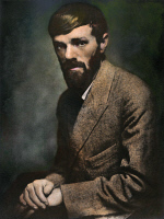0051818 © Granger - Historical Picture ArchiveD.H. LAWRENCE (1885-1930).   Oil over a photograph by Nickolas Muray, 1920s.