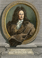 0009262 © Granger - Historical Picture ArchiveGOTTFRIED VON LEIBNIZ   (1646-1716). German philosopher and mathematician. Copper engraving, 1745, by Étienne Ficquet.
