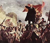 0038264 © Granger - Historical Picture ArchiveVLADIMIR LENIN (1870-1924).   Vladimir Ilich Ulyanov, known as Lenin. Russian Communist leader. 'Lenin Rallying the People.' Oil on canvas by Irakliy Toidze.